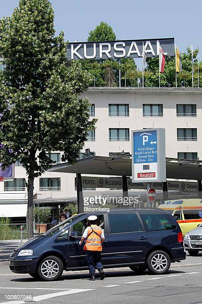 A security officer checks a van arriving for the memorial service for Nicolas Hayek founder of Swatch Group AG at the Kursaal in Bern Switzerland on...