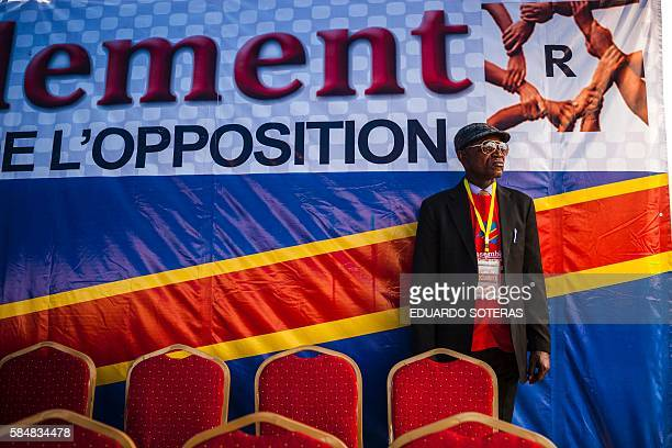 TOPSHOT A security officer looks on during a rally organised by political opposition parties in Kinshasa on July 31 2016 Congo's veteran opposition...