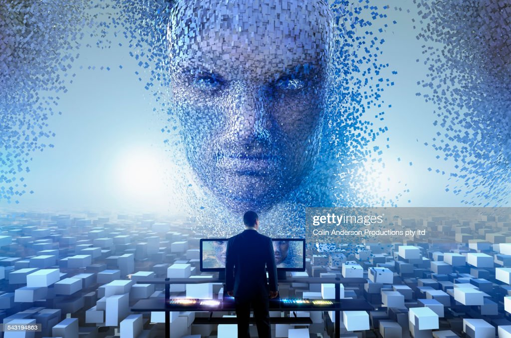 Security officer watching cloud blocks forming face in sky : Stock Photo