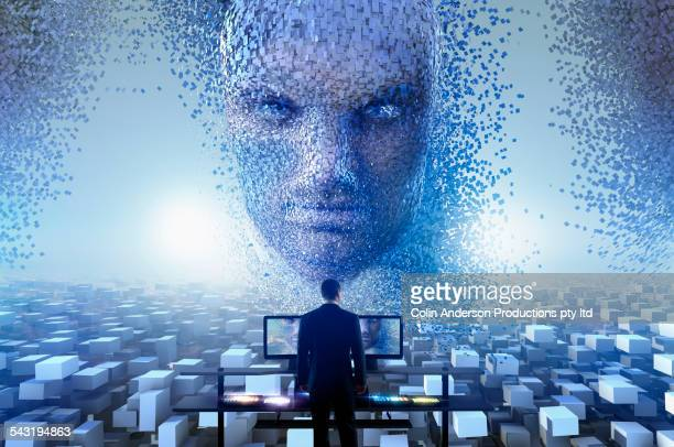 security officer watching cloud blocks forming face in sky - fake man stock photos and pictures