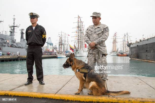 Security officers stand during the Velas Latinoamerica 2018 Nautical Festival at Callao Naval Base on June 21 2018 in Callao Peru The Festival brings...