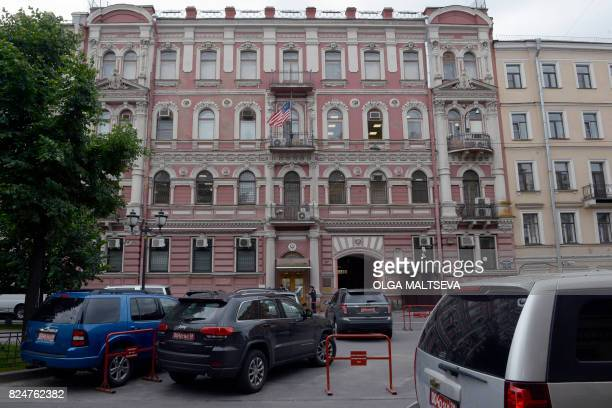 Security officers stand guard outside the US Consulate in Saint Petersburg on July 31 2017 President Vladimir Putin on July 30 2017 said the United...