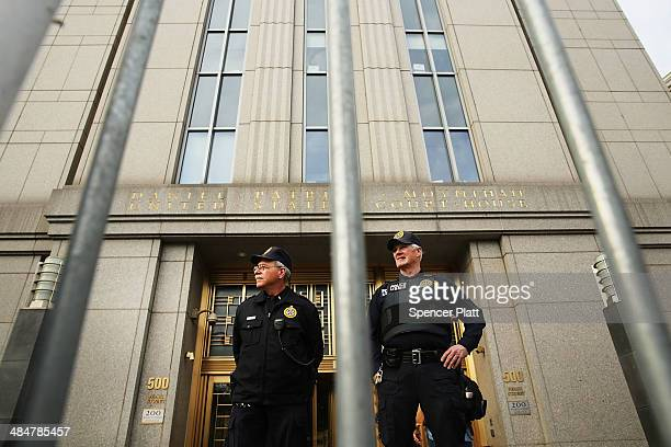 Security officers stand outside of US Federal Court House on the morning the court begins jury selection for the Abu Hamza terrorism trial on April...