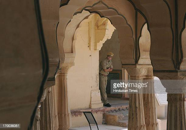 A security official at Amber Fort on alert after an email threatening of bomb blasts in several parts of the city on June 13 landed in the mail boxes...