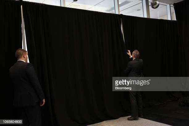 Security officials prepare the area for a group photograph during a meeting of the Lima Group in Ottawa Ontario Canada on Monday Feb 4 2019 Prime...