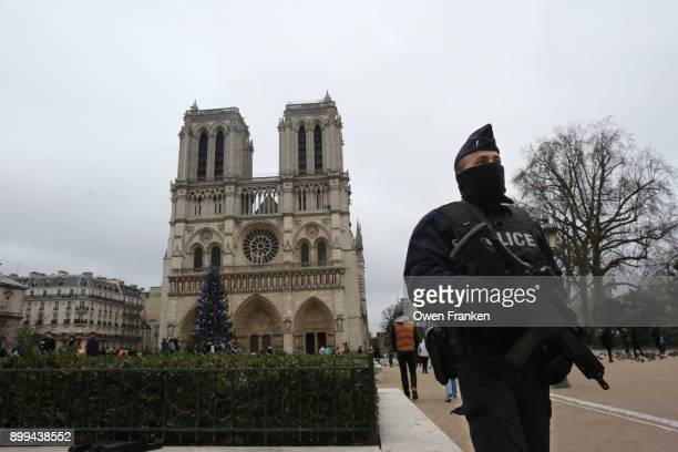 security on christmas day-notre dame cathedral-paris - antiterrosimo foto e immagini stock