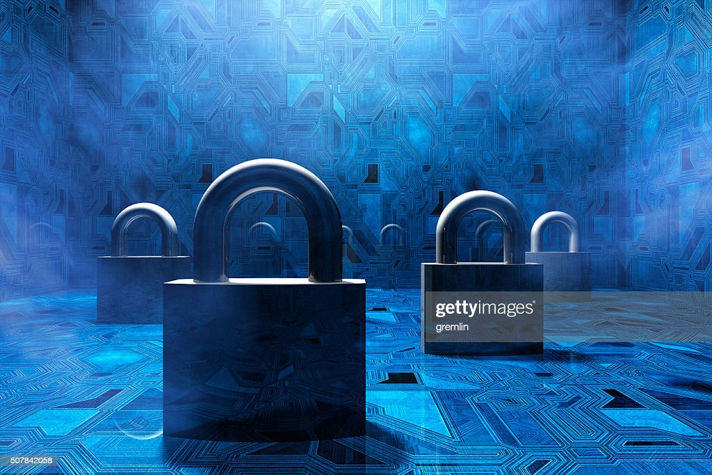 Security padlocks in virtual environment, concept : Stock Photo