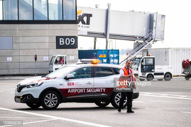 Security participates to an excercise at Berlin Brandenburg Airport 'Willy Brandt' during a test run ahead of its opening, planned for October 31, in...