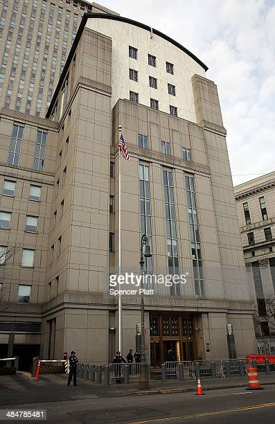 Security patrols outside US Federal Court House on the morning court begins jury selection for the Abu Hamza terrorism trial on April 14 2014 in New...