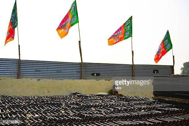 Security personnel assisting in preparations of BJP rally at Dwarka Sector14 where Narendra Modi will address the people during elections campaign on...