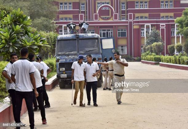 Security personnel at Ryan International School on September 12 2017 in Gurgaon India Seven year old student Pradhyumn Thakur was found dead with his...