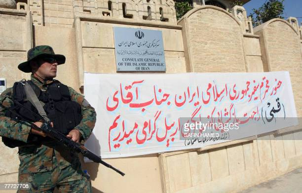 A security personnel guards the entrance of the Iranian consulate in Arbil northern Iraq 06 November 2007 Iran opened today two consulates in...