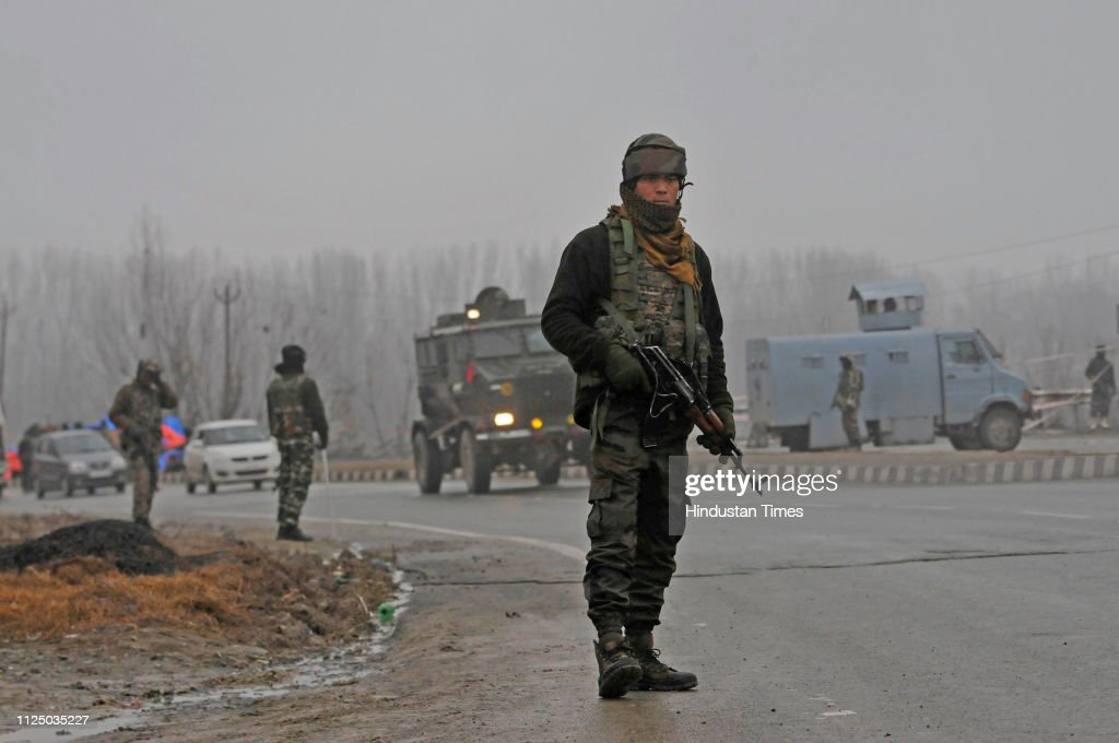 IND: Pulwama Terror Attack: Security Personnel Inspect The Blast Site In Lethpora Area