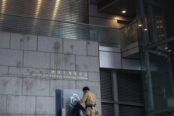 HKG: Views of the Hong Kong Police Headquarters As Protesters Disperse After Causing China New Grief