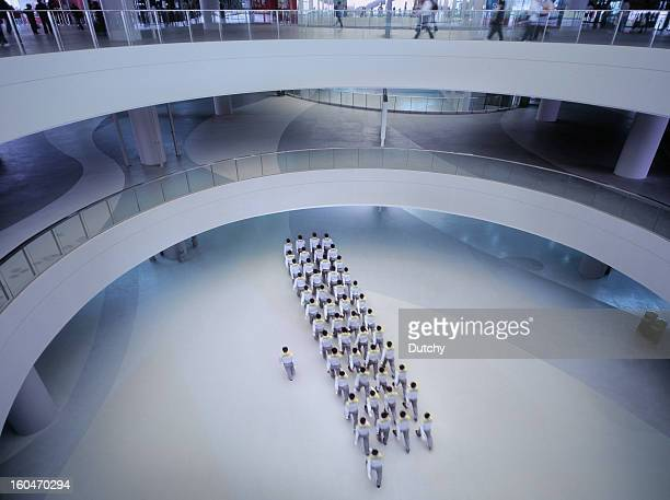 Security platoon marching towards destination in Shanghai