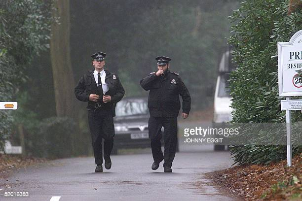 Security police continue to patrol the private estate where former Chilean dictator Gen. Augusto Pinochet is staying 09 December prior to him...