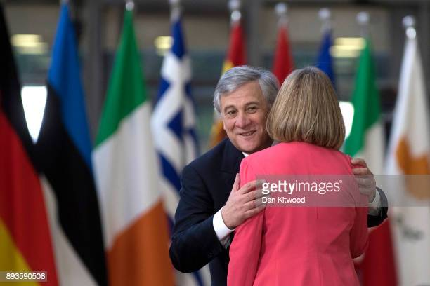 Security Policy and VicePresident of the European Commission Federica Mogherini and President of the European Parliament Antonio Tajani arrive for...