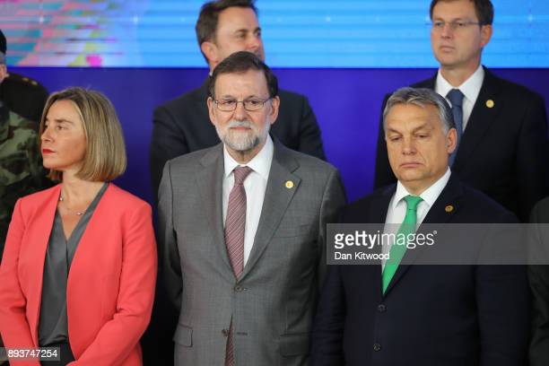 Security Policy and VicePresident of the European Commission Federica Mogherini and Prime Minister of Spain Mariano Rajoy pose for a group photo...