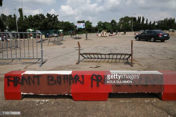 A security post vandalised by supporters of an imprisoned leader of the Islamic Movement of Nigeria Ibrahim Zakzaky at the premises of national...