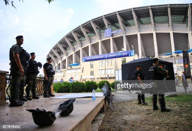 Security precautions are taken ahead of the UEFA Super Cup match between Real Madrid and Manchester United at Philip II National Arena in Skopje...