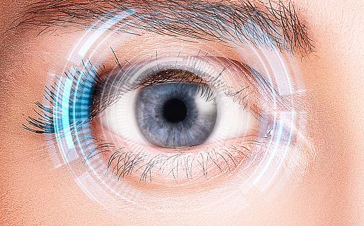 Security retina scanner on woman blue eye 897724014