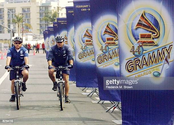 Security ride their bikes outside Staples Center before the 44th Annual Grammy Awards February 27 2002 in Los Angeles CA