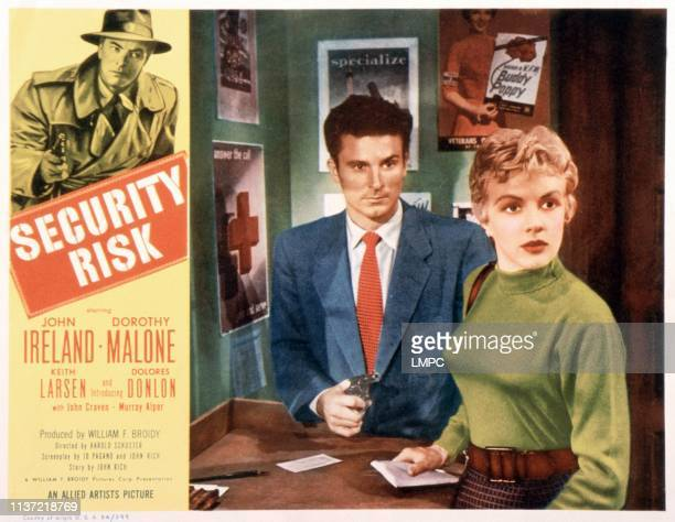 Security Risk US lobbycard John Ireland center from left Keith Larsen Dolores Donlon 1954