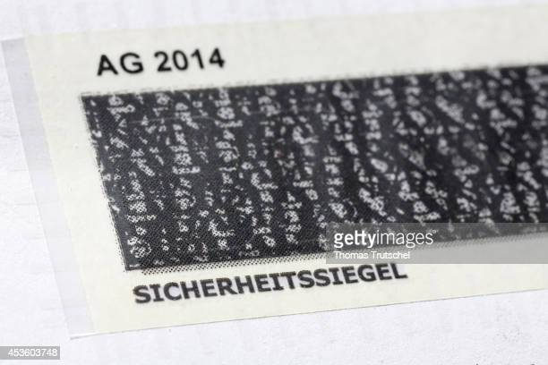 Security seal which can be scratched to reveal a password on August 08 in Berlin Germany