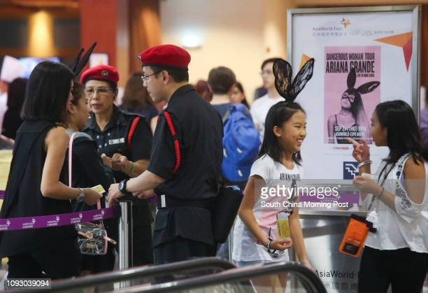 Security search audiences for safety before entering the Ariana Grande live concert at the Asia World Expo in Chek Lap Kok 21SEP17 SCMP / K Y Cheng
