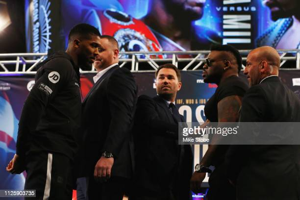 Security separate Jarrell Miller and Anthony Joshua during a faceoff at a Press Conference at Madison Square Garden on February 19 2019 in New York...