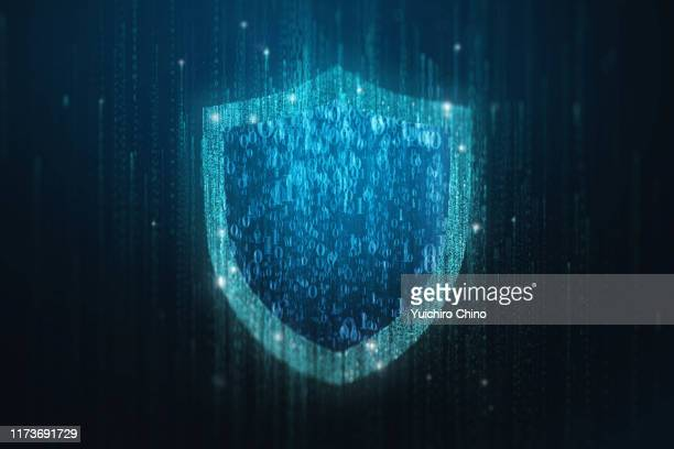 security shield in matrix - shield stock pictures, royalty-free photos & images