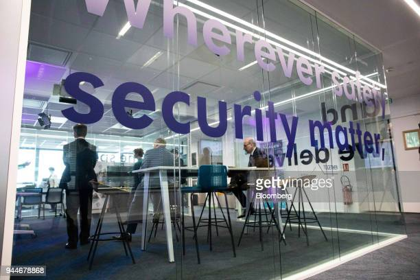 A security sign sits on a glass office space during the Thales SA cyber security event in the Velizy district of Paris France on Wednesday April 11...
