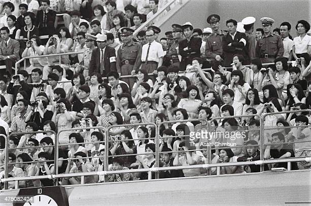 Security staffs stand during the Beatles concert at Nippon Budokan on June 30 1966 in Tokyo Japan
