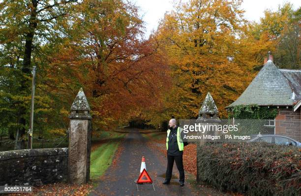 Security stands at the entrance to Cromlix House Hotel near Dunblane where Jamie Murray is to marry Alejandra Gutierrez in a ceremony today