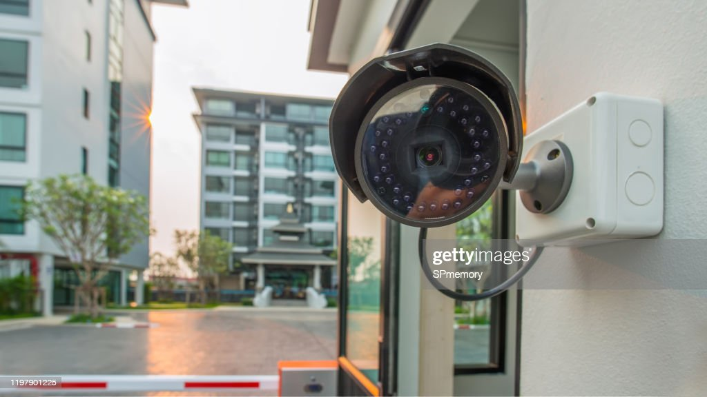 CCTV Security surveillance camera system for domestic life in modern city.Surveillance cameras on the corner of a building. : Stock Photo