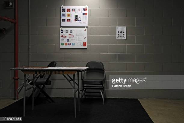 Security table is empty prior to the Detroit Red Wings playing against the Washington Capitals at Capital One Arena on March 12, 2020 in Washington,...