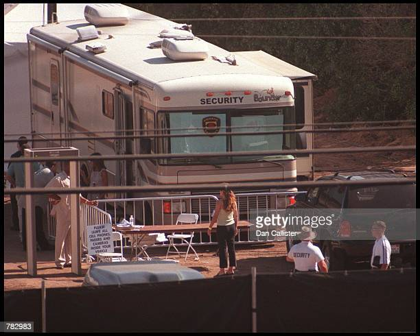 A security trailer and metal detector at Brad Pitt and Jennifer Aniston's wedding venue July 29 2000 in Malibu CA