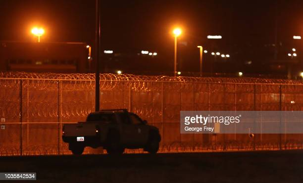 A security truck drives by an entrance gate to the Utah Sate Prison woman facility on September 19 2018 in Draper Utah Wanda Barzee who helped kidnap...