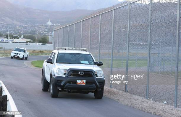 A security truck patrols the parameter of the Utah State Prison woman facility on September 19 2018 in Draper Utah Wanda Barzee who helped kidnap...
