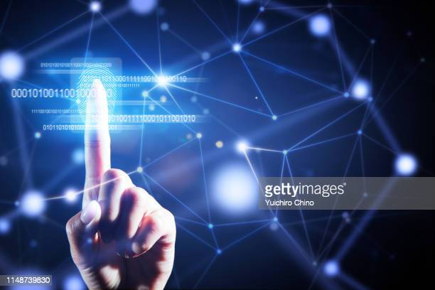 security user interface technology with fingerprint - security_(finance) stock pictures, royalty-free photos & images
