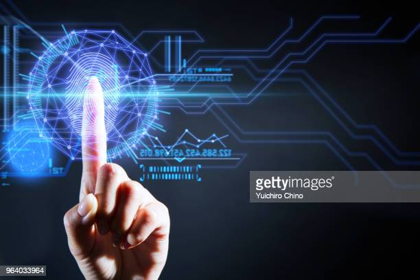security user interface technology with fingerprint - hud graphical user interface stock photos and pictures