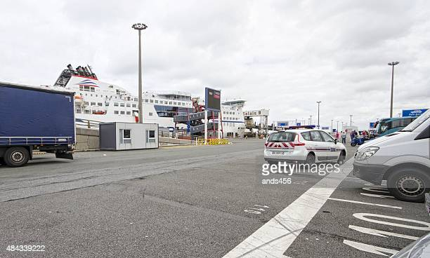 security vehicle at french port of Calais