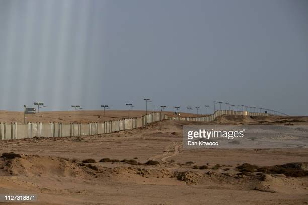 A security wall around the airport during the first ArabEuropean Summit on February 25 2019 in Sharm El Sheikh Egypt Leaders from European and Arab...