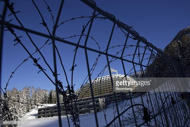 Security wire is seen surrounding the heliport and the approach to the InterContinental Hotel Davos operated by InterContinental Hotels Group Plc...