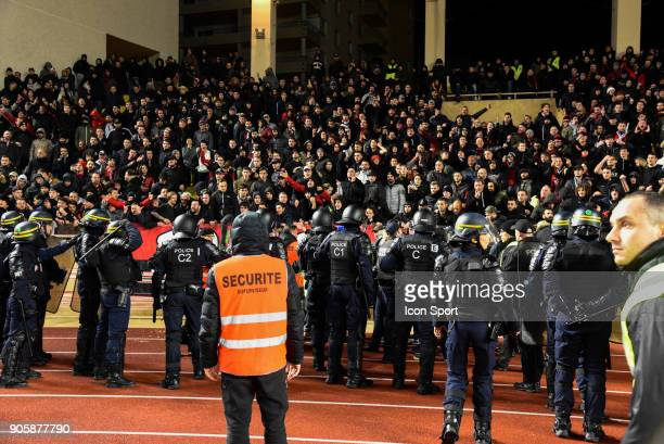Security with Fans of Nice during the Ligue 1 match between AS Monaco and OGC Nice at Stade Louis II on January 16 2018 in Monaco