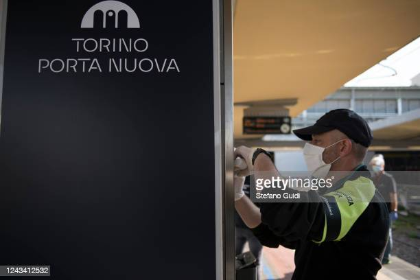 A security worker wears a protective mask at the Porta Nuova railway station on June 03 2020 in Turin Italy Today 3 June the Italian government has...