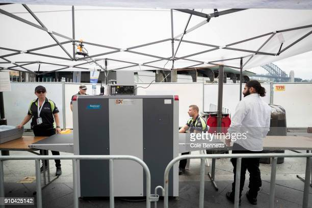 Security xray machines are set up on all entry points into the Australia Day Event at the Opera House on January 26 2018 in Sydney Australia...