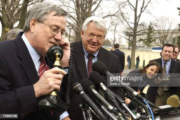 SECURITYHouse Ways and Means Chairman Bill Thomas RCalif pretends to talk on an antique phone as House Speaker J Dennis Hastert RIll looks on during...