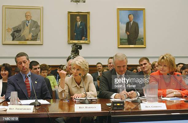 """William M. """"Mac"""" Thornberry, R-Texas, Jane Harman, D-Calif., Jim Gibbons, R-Nev., and Ellen O. Tauscher, D-Calif., testify during the National..."""