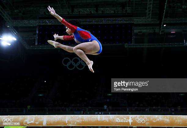 Seda Tutkhalian of Russia competes on the balance beam during Women's qualification for Artistic Gymnastics on Day 2 of the Rio 2016 Olympic Games at...